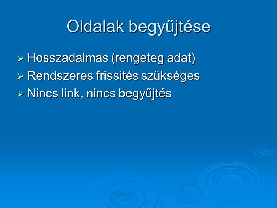 Oldalak begyűjtése  Hosszadalmas (rengeteg adat)  Rendszeres frissités szükséges  Nincs link, nincs begyűjtés