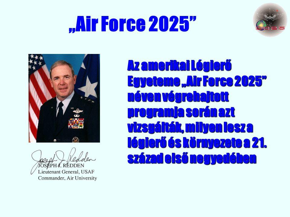 """""""Air Force 2025 Az amerikai Légierő Egyeteme """"Air Force 2025 néven végrehajtott programja során azt vizsgálták, milyen lesz a légierő és környezete a 21."""