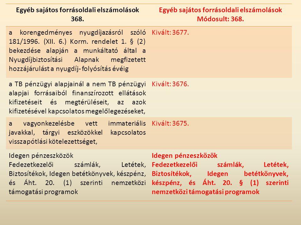 Egyéb sajátos forrásoldali elszámolások 368. Egyéb sajátos forrásoldali elszámolások Módosult: 368. a korengedményes nyugdíjazásról szóló 181/1996. (X
