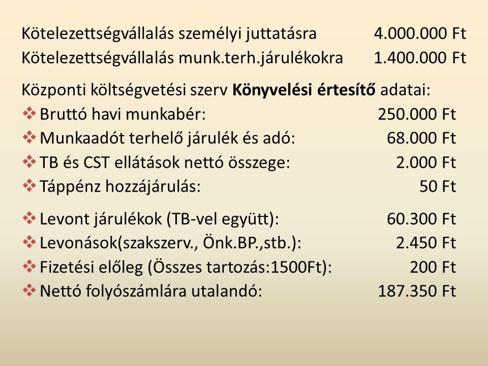Kötelezettségvállalás személyi juttatásra 4.000.000 Ft Kötelezettségvállalás munk.terh.járulékokra1.400.000 Ft Központi költségvetési szerv Könyvelési