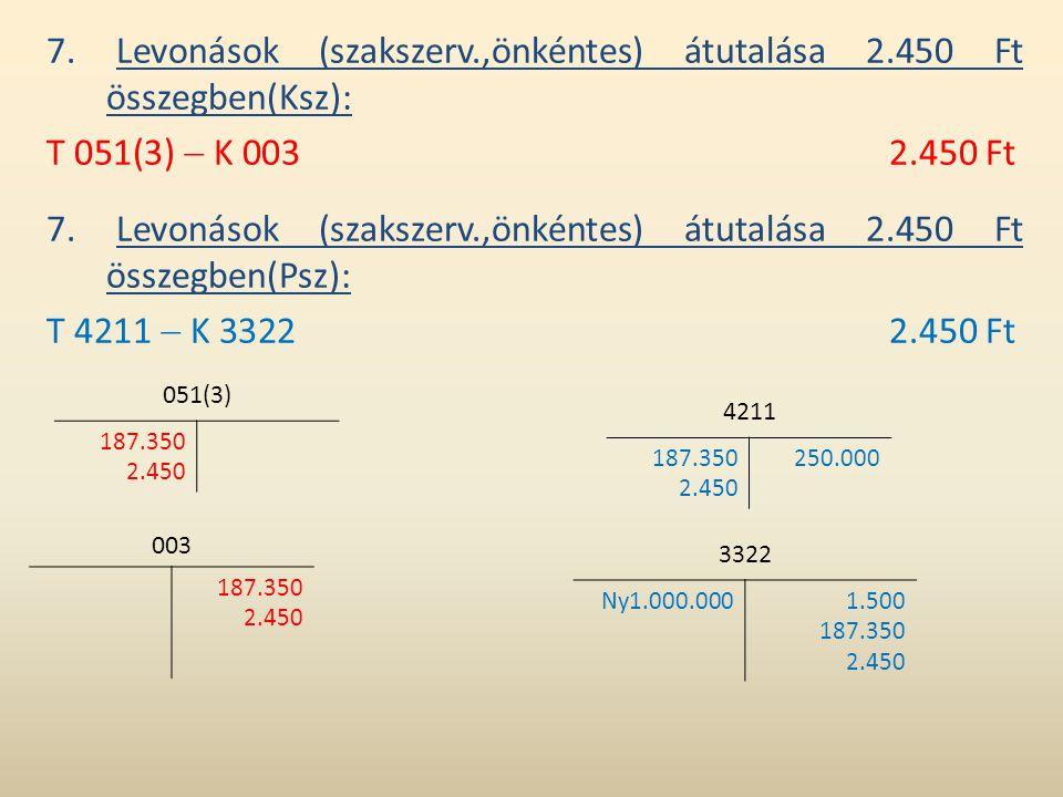 7. Levonások (szakszerv.,önkéntes) átutalása 2.450 Ft összegben(Ksz): T 051(3)  K 0032.450 Ft 7. Levonások (szakszerv.,önkéntes) átutalása 2.450 Ft ö