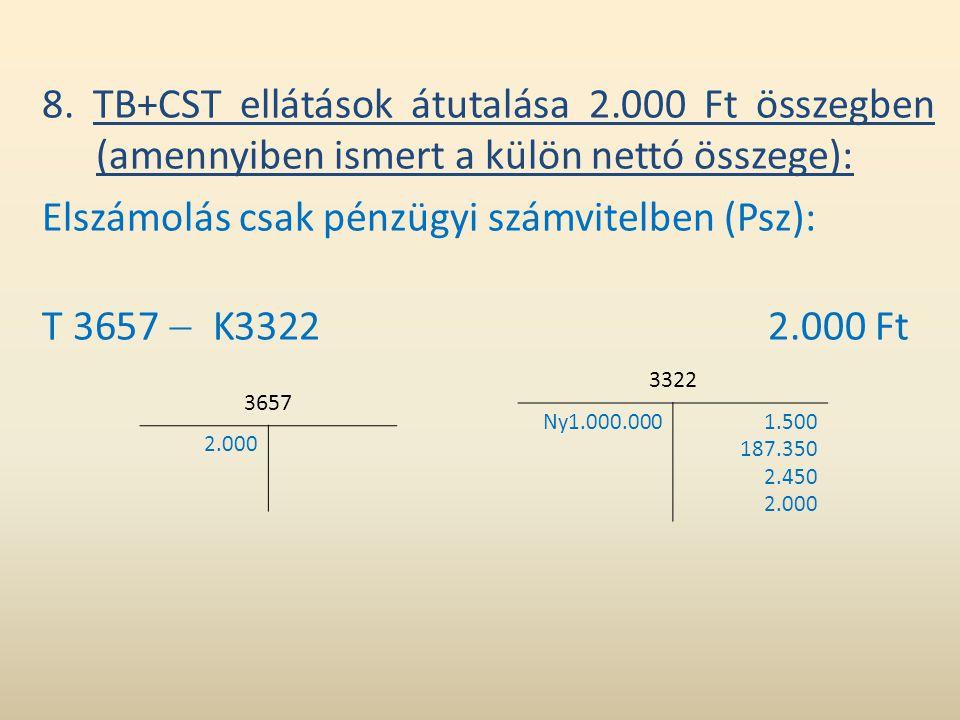 8. TB+CST ellátások átutalása 2.000 Ft összegben (amennyiben ismert a külön nettó összege): Elszámolás csak pénzügyi számvitelben (Psz): T 3657  K332