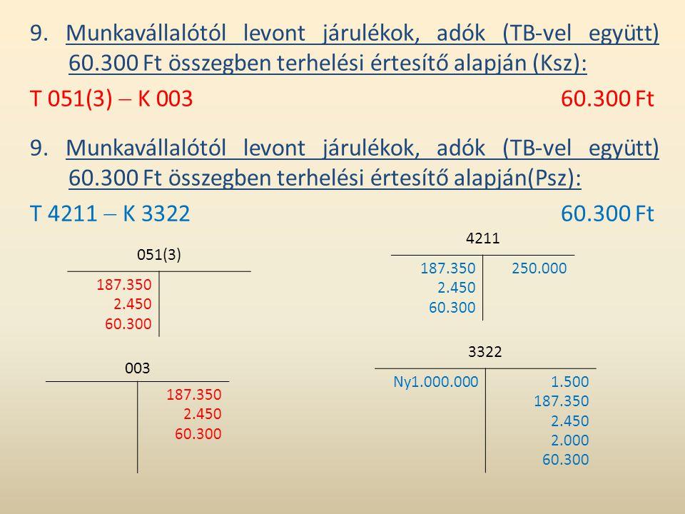 9. Munkavállalótól levont járulékok, adók (TB-vel együtt) 60.300 Ft összegben terhelési értesítő alapján (Ksz): T 051(3)  K 00360.300 Ft 9. Munkaváll