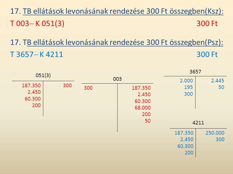 17. TB ellátások levonásának rendezése 300 Ft összegben(Ksz): T 003  K 051(3)300 Ft 17. TB ellátások levonásának rendezése 300 Ft összegben(Psz): T 3