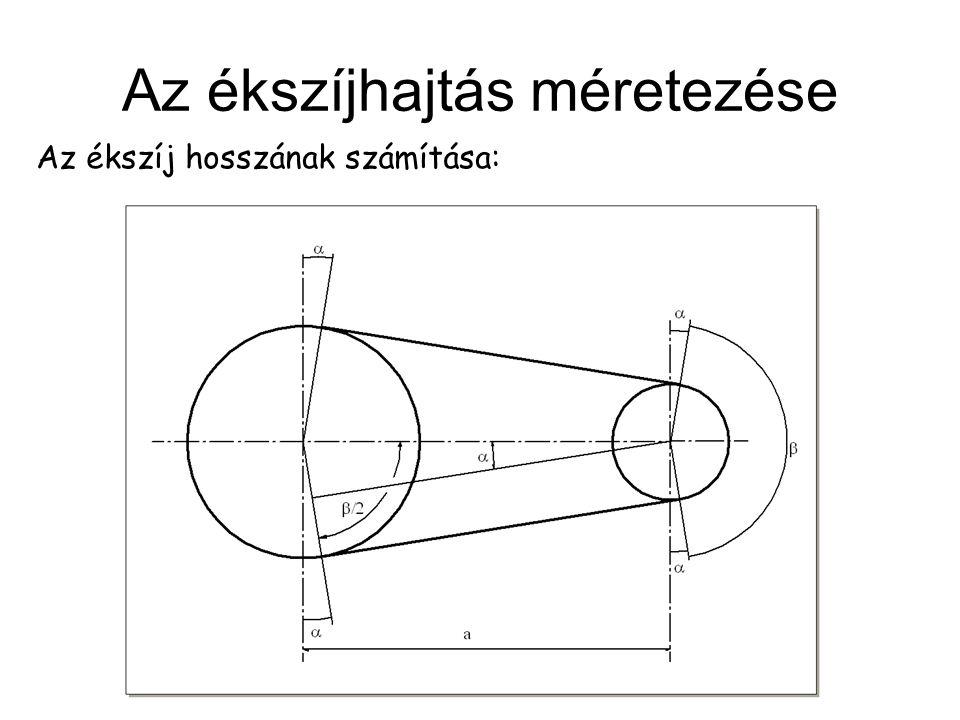 Az ékszíjhajtás méretezése Az ékszíj hosszának számítása: