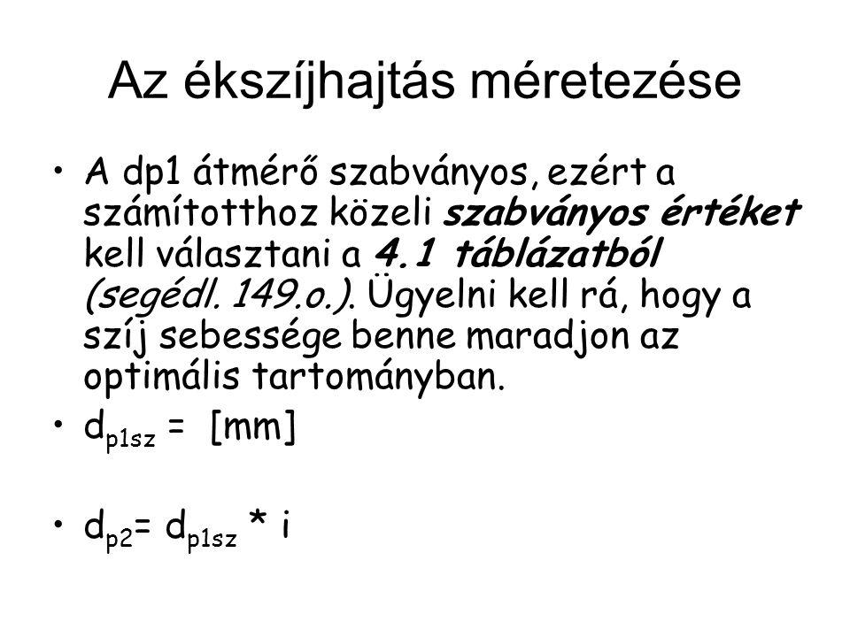 Az ékszíjhajtás méretezése A dp1 átmérő szabványos, ezért a számítotthoz közeli szabványos értéket kell választani a 4.1 táblázatból (segédl. 149.o.).