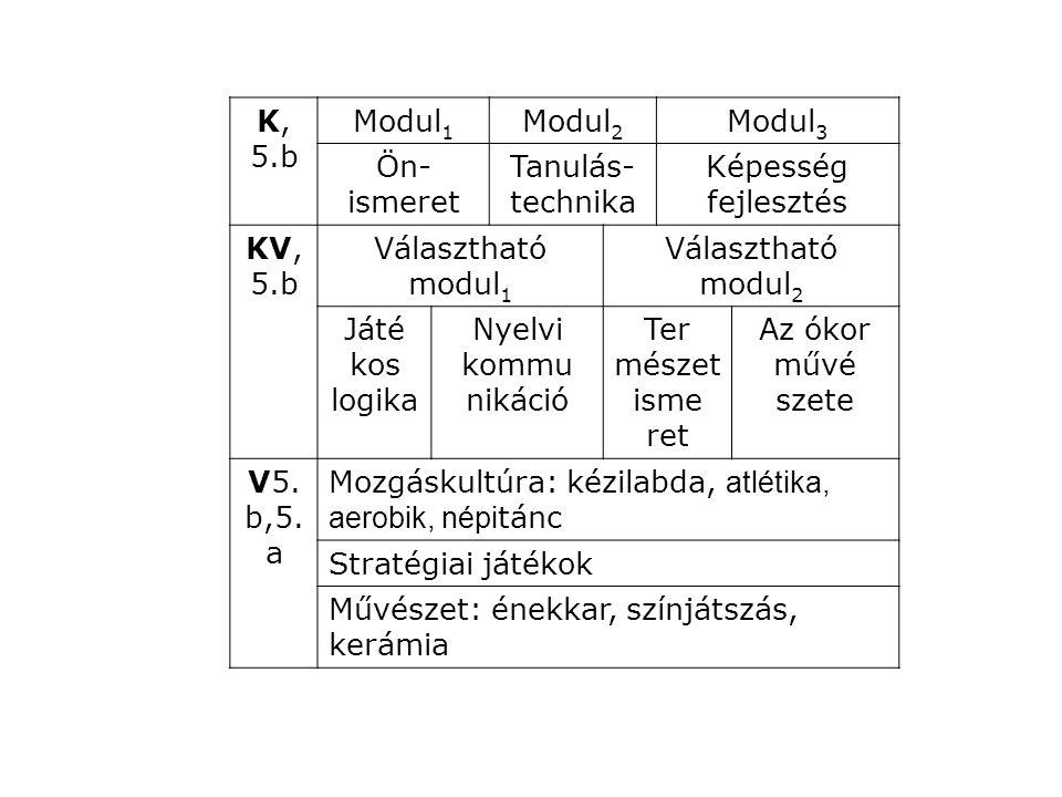 K, 6.b Modul 4 Modul 5 Modul 6 Idegen nyelv IKT Hon ismeret, hely történet Kompetencia KV, 6.b Választható modul 3 Választható modul 4 ECDLKönyv tári ismere tek Viselke déskul túra, etika Minden napi kör nyezetünk V, 6.a, 6.b Mozgáskultúra: kézilabda, tenisz, tánc Média, művészet: animációs rajzfilm, újságírás Kereszténységünk: konfirmáció