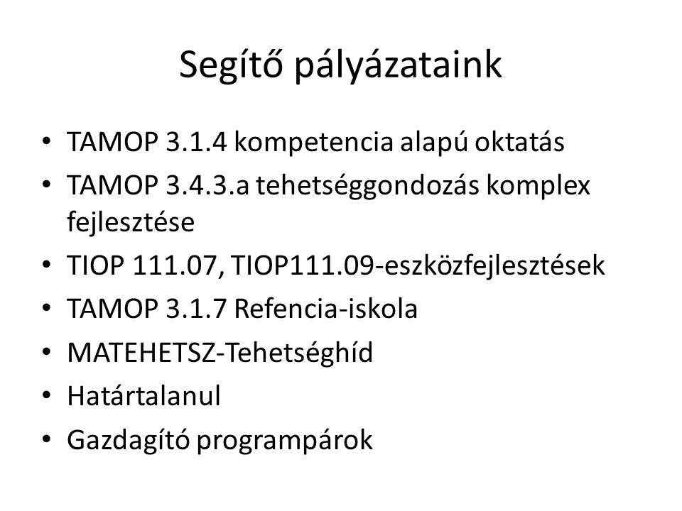 Segítő pályázataink TAMOP 3.1.4 kompetencia alapú oktatás TAMOP 3.4.3.a tehetséggondozás komplex fejlesztése TIOP 111.07, TIOP111.09-eszközfejlesztése