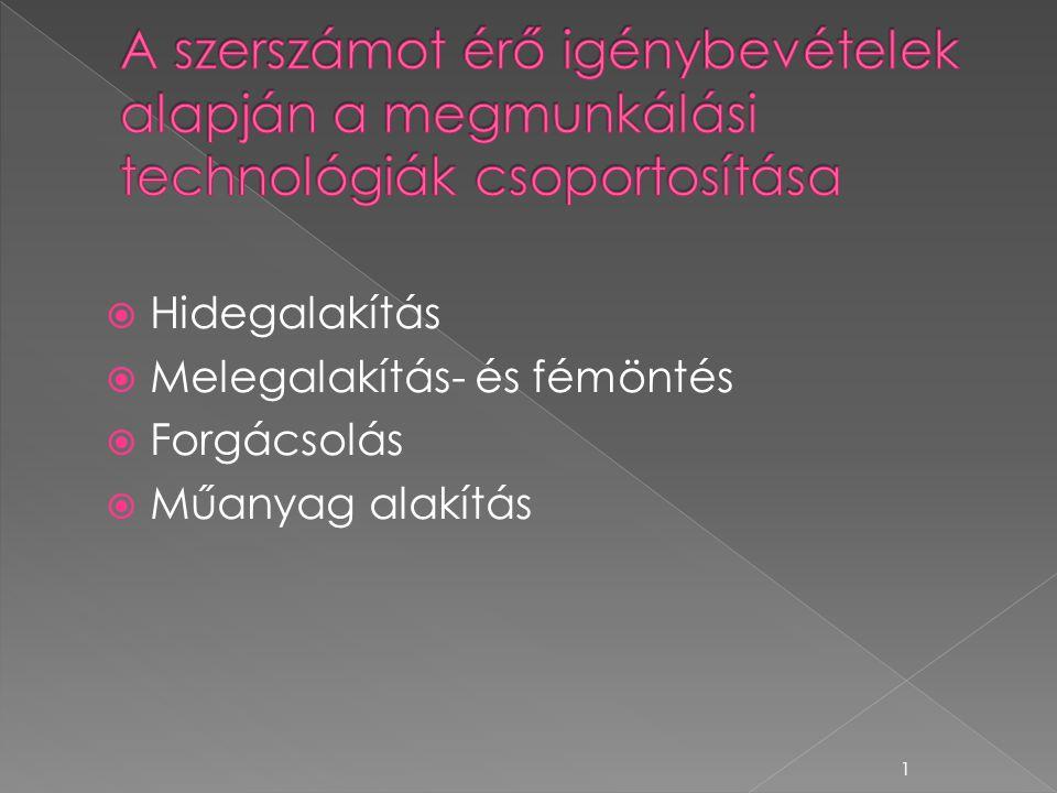  Hidegalakítás  Melegalakítás- és fémöntés  Forgácsolás  Műanyag alakítás 1