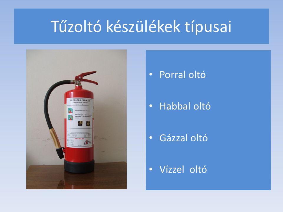 Tűzoltó készülékek típusai Porral oltó Habbal oltó Gázzal oltó Vízzel oltó