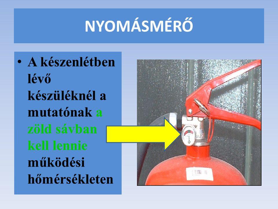 NYOMÁSMÉRŐ A készenlétben lévő készüléknél a mutatónak a zöld sávban kell lennie működési hőmérsékleten