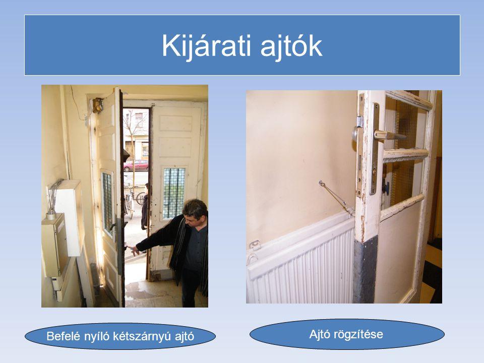 Kijárati ajtók Befelé nyíló kétszárnyú ajtó Ajtó rögzítése