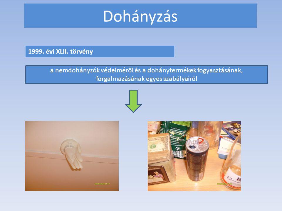 Dohányzás 1999. évi XLII. törvény a nemdohányzók védelméről és a dohánytermékek fogyasztásának, forgalmazásának egyes szabályairól