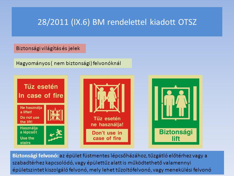 28/2011 (IX.6) BM rendelettel kiadott OTSZ Biztonsági világítás és jelek Hagyományos ( nem biztonsági) felvonóknál Biztonsági felvonó: az épület füstm