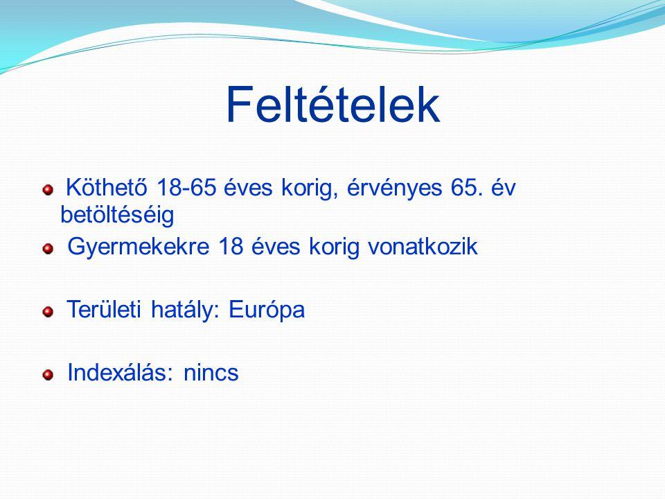 Feltételek Köthető 18-65 éves korig, érvényes 65. év betöltéséig Gyermekekre 18 éves korig vonatkozik Területi hatály: Európa Indexálás: nincs