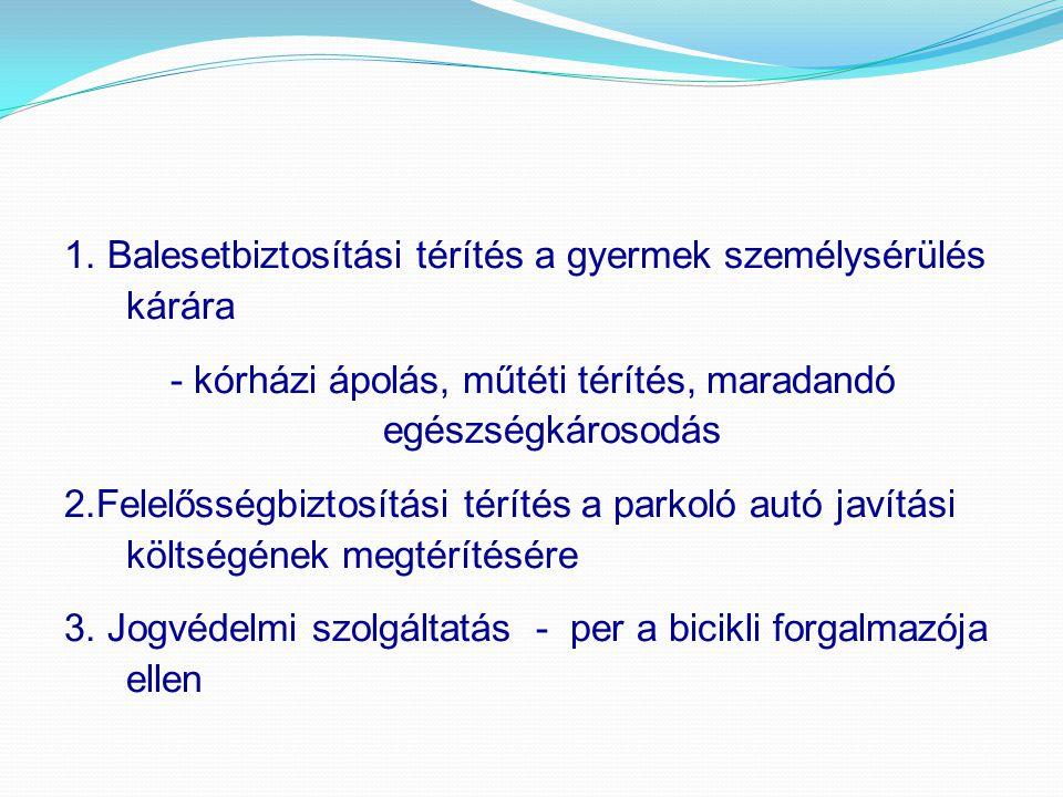 1. Balesetbiztosítási térítés a gyermek személysérülés kárára - kórházi ápolás, műtéti térítés, maradandó egészségkárosodás 2.Felelősségbiztosítási té
