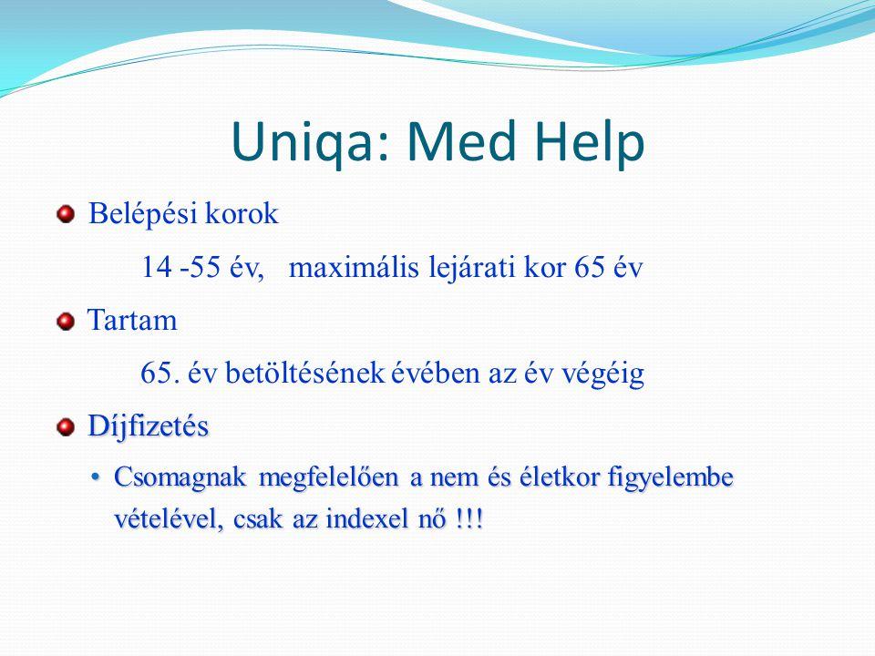 Uniqa: Med Help Belépési korok 14 -55 év, maximális lejárati kor 65 év Tartam 65. év betöltésének évében az év végéig Díjfizetés Csomagnak megfelelően