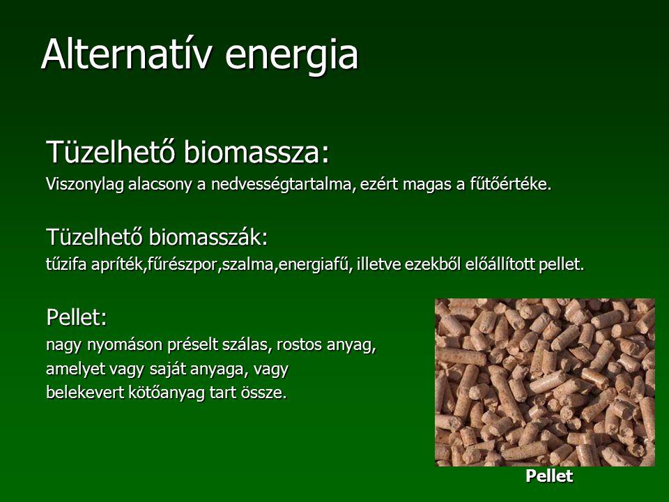 Alternatív energia Tüzelhető biomassza: Viszonylag alacsony a nedvességtartalma, ezért magas a fűtőértéke. Tüzelhető biomasszák: tűzifa apríték,fűrész