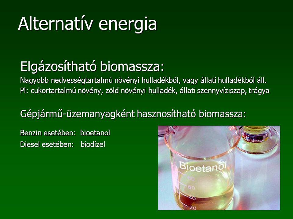 Alternatív energia Elgázosítható biomassza: Nagyobb nedvességtartalmú növényi hulladékból, vagy állati hulladékból áll. Pl: cukortartalmú növény, zöld