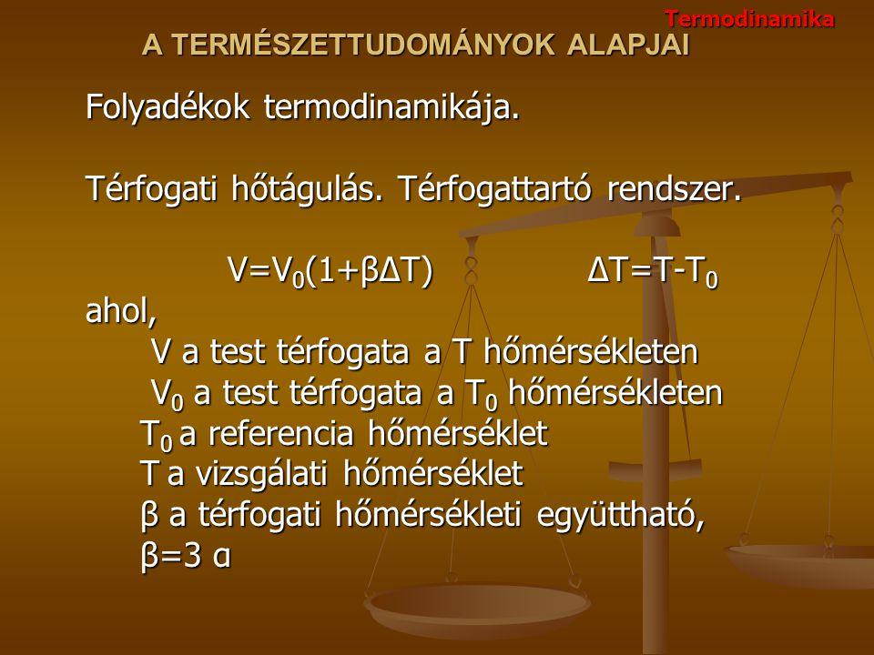 A TERMÉSZETTUDOMÁNYOK ALAPJAI Folyadékok termodinamikája. Térfogati hőtágulás. Térfogattartó rendszer. V=V 0 (1+βΔT) ΔT=T-T 0 ahol, V a test térfogata