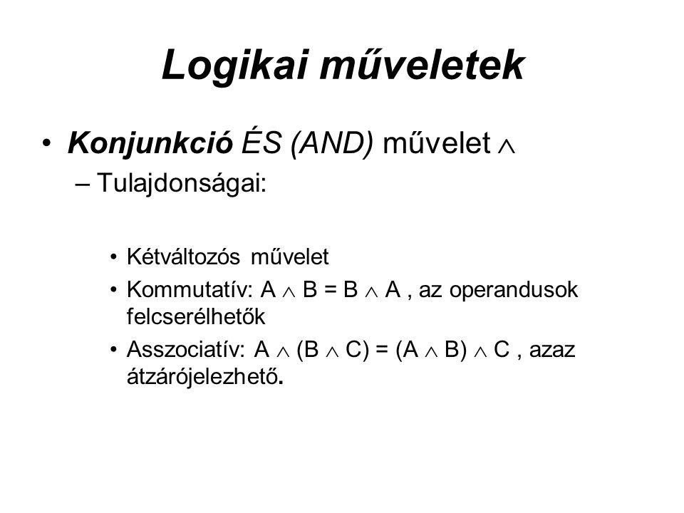 Logikai műveletek Konjunkció ÉS (AND) művelet  –Tulajdonságai: Kétváltozós művelet Kommutatív: A  B = B  A, az operandusok felcserélhetők Asszociatív: A  (B  C) = (A  B)  C, azaz átzárójelezhető.