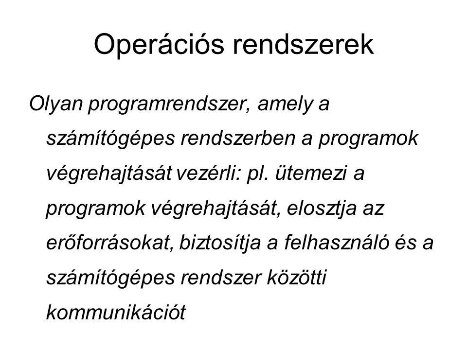 Operációs rendszerek Olyan programrendszer, amely a számítógépes rendszerben a programok végrehajtását vezérli: pl.