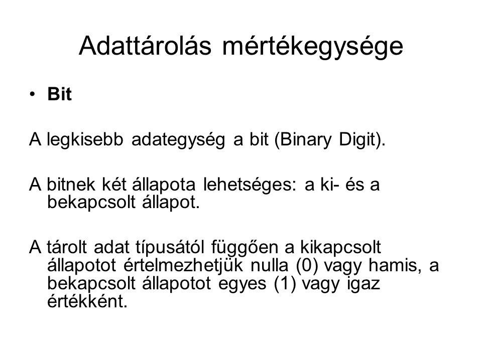 Adattárolás mértékegysége Bit A legkisebb adategység a bit (Binary Digit).