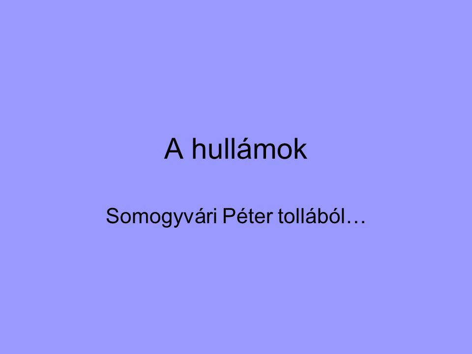 A hullámok Somogyvári Péter tollából…