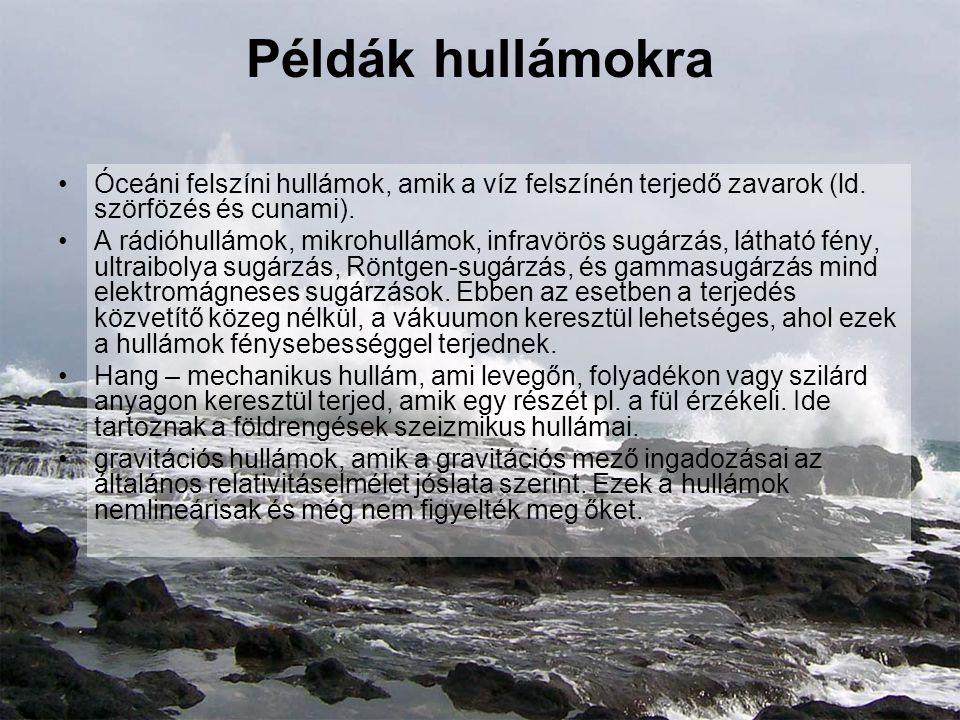Példák hullámokra Óceáni felszíni hullámok, amik a víz felszínén terjedő zavarok (ld. szörfözés és cunami). A rádióhullámok, mikrohullámok, infravörös