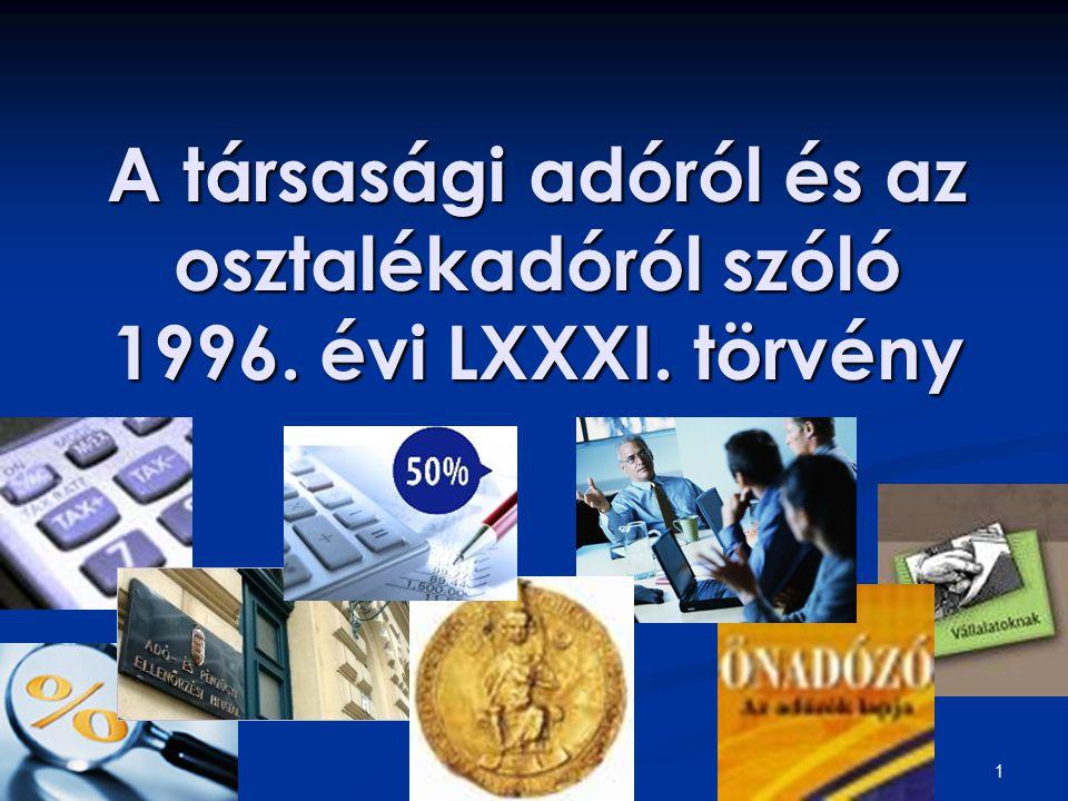 1 A társasági adóról és az osztalékadóról szóló 1996. évi LXXXI. törvény