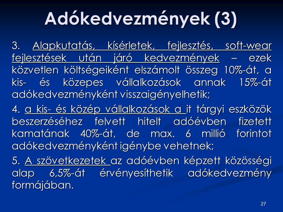 Adókedvezmények (3) 3.
