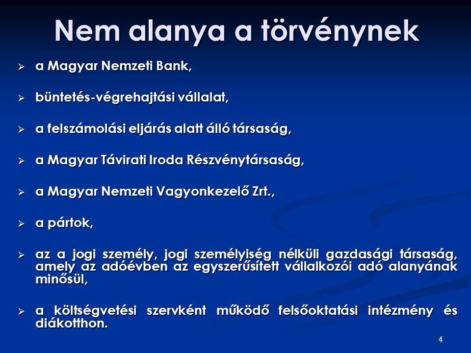 4 Nem alanya a törvénynek  a Magyar Nemzeti Bank,  büntetés-végrehajtási vállalat,  a felszámolási eljárás alatt álló társaság,  a Magyar Távirati Iroda Részvénytársaság,  a Magyar Nemzeti Vagyonkezelő Zrt.,  a pártok,  az a jogi személy, jogi személyiség nélküli gazdasági társaság, amely az adóévben az egyszerűsített vállalkozói adó alanyának minősül,  a költségvetési szervként működő felsőoktatási intézmény és diákotthon.