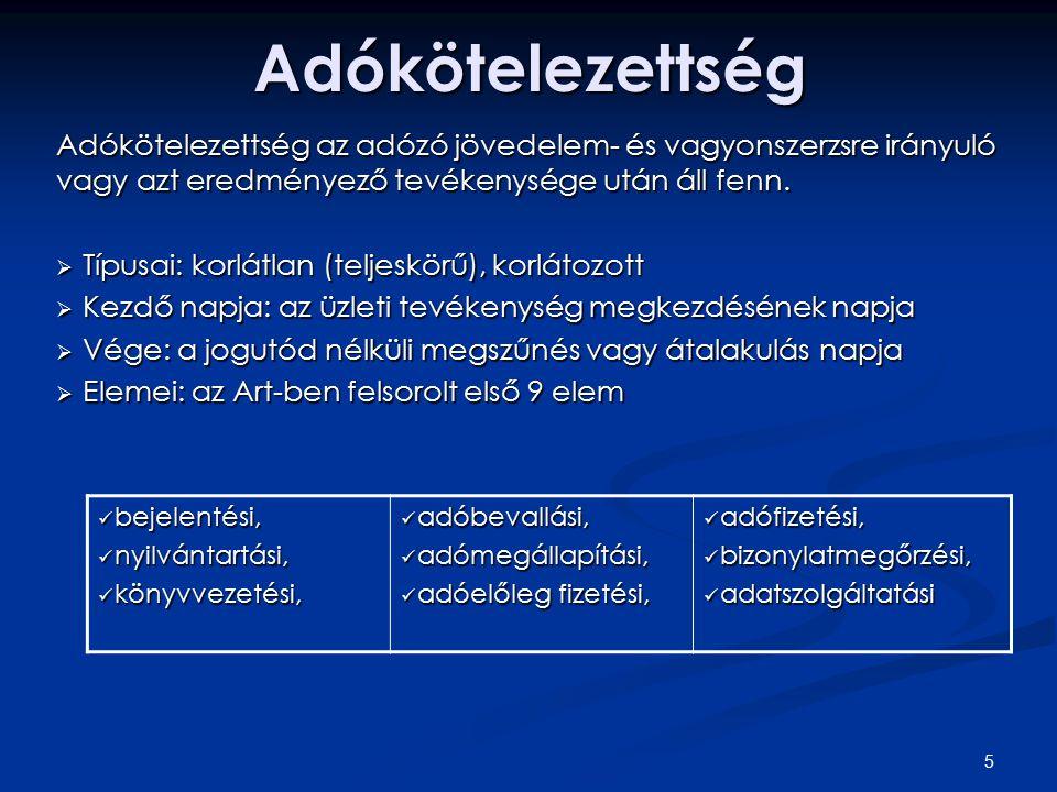 5Adókötelezettség Adókötelezettség az adózó jövedelem- és vagyonszerzsre irányuló vagy azt eredményező tevékenysége után áll fenn.