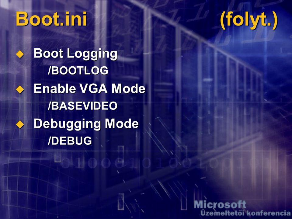 Boot.ini(folyt.)  Boot Logging /BOOTLOG  Enable VGA Mode /BASEVIDEO  Debugging Mode /DEBUG