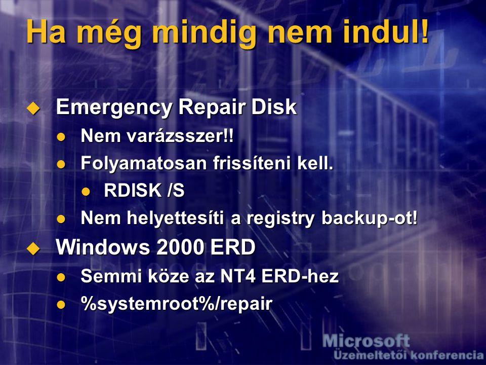 Ha még mindig nem indul.  Emergency Repair Disk Nem varázsszer!.
