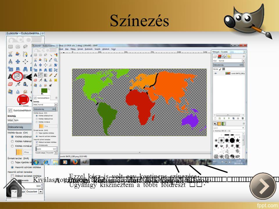 Színezés Hogy ne legyen egyhangú az alkot á som , a vonalak megrajzol á sa ut á n a kontinenseket különböz ő színekkel jelöltem.