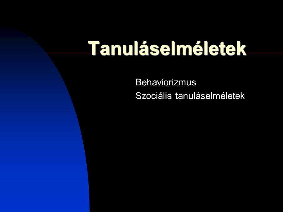 Tanuláselméletek Behaviorizmus Szociális tanuláselméletek