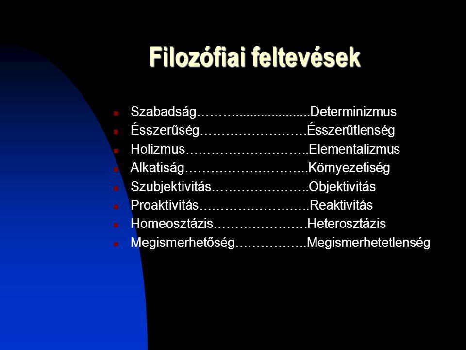 Filozófiai feltevések Szabadság……….....................Determinizmus Ésszerűség…………………….Ésszerűtlenség Holizmus………………………..Elementalizmus Alkatiság…………