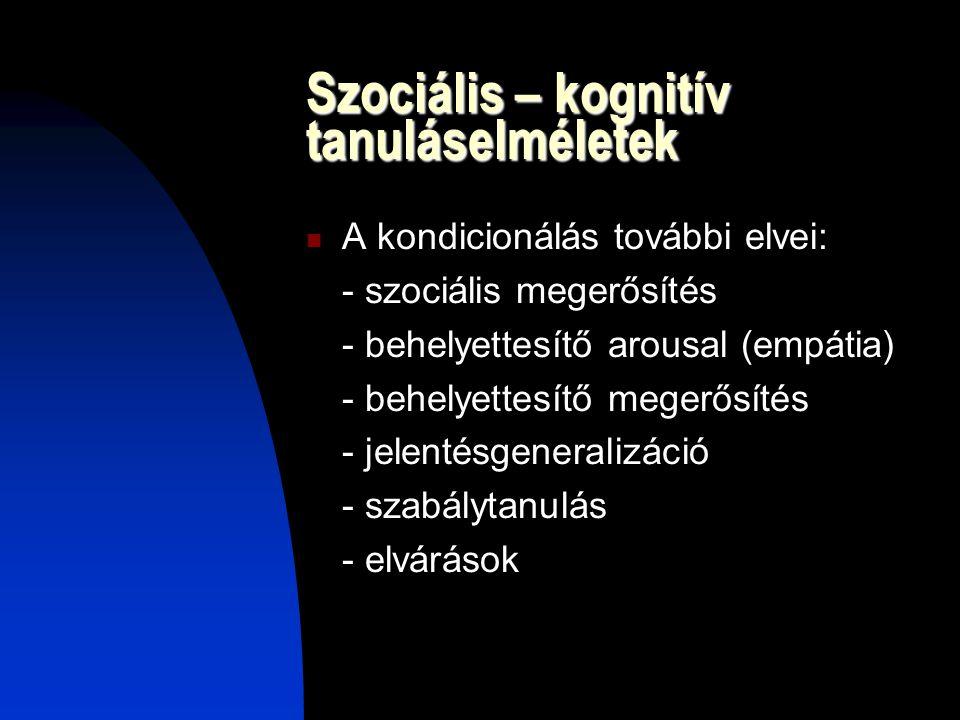 Szociális – kognitív tanuláselméletek A kondicionálás további elvei: - szociális megerősítés - behelyettesítő arousal (empátia) - behelyettesítő meger