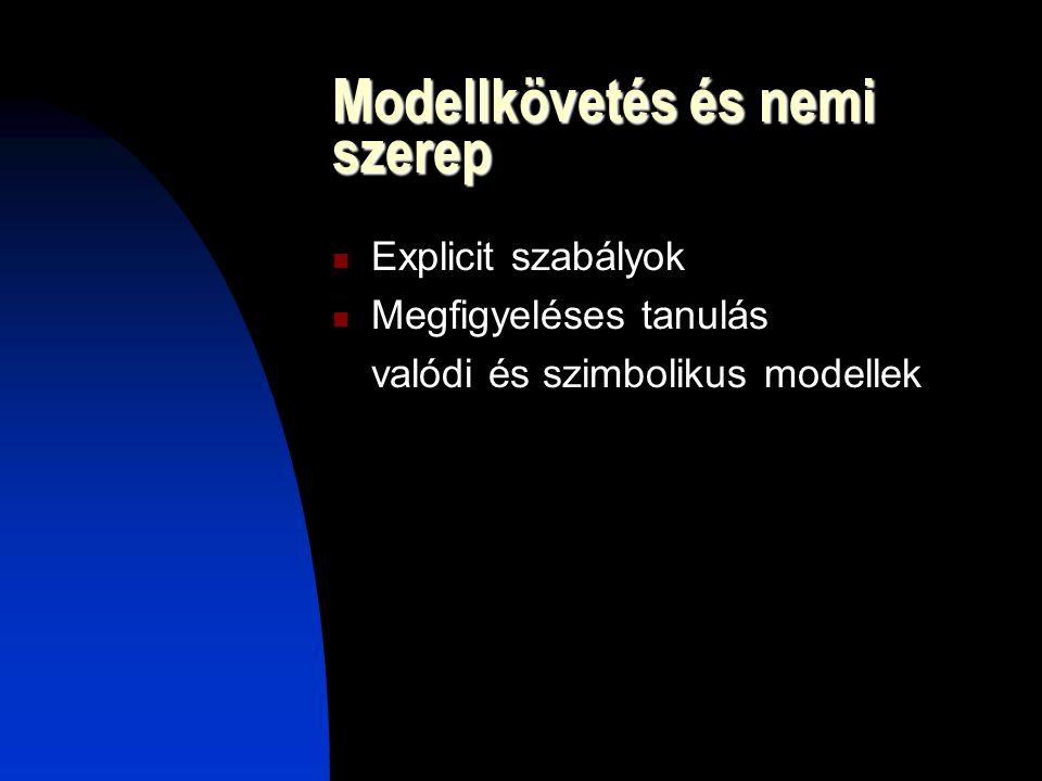 Modellkövetés és nemi szerep Explicit szabályok Megfigyeléses tanulás valódi és szimbolikus modellek
