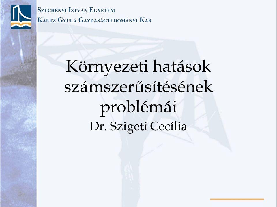 Környezeti hatások számszerűsítésének problémái Dr. Szigeti Cecília