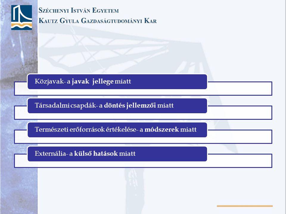 Közjavak- a javak jellege miattTársadalmi csapdák- a döntés jellemzői miattTermészeti erőforrások értékelése- a módszerek miattExternália- a külső hat