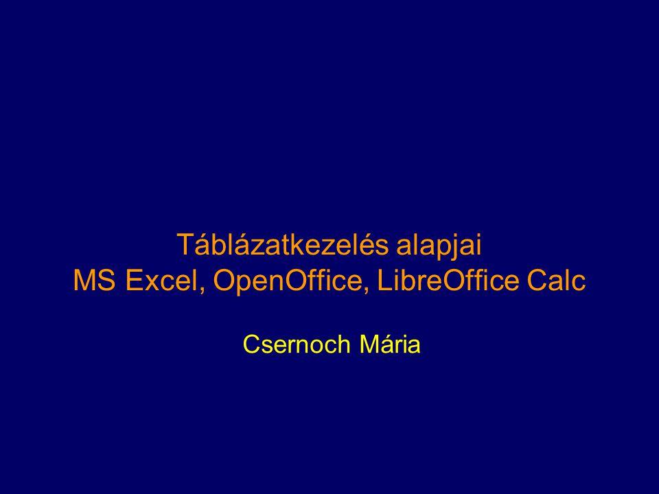 Táblázatkezelés alapjai MS Excel, OpenOffice, LibreOffice Calc Csernoch Mária