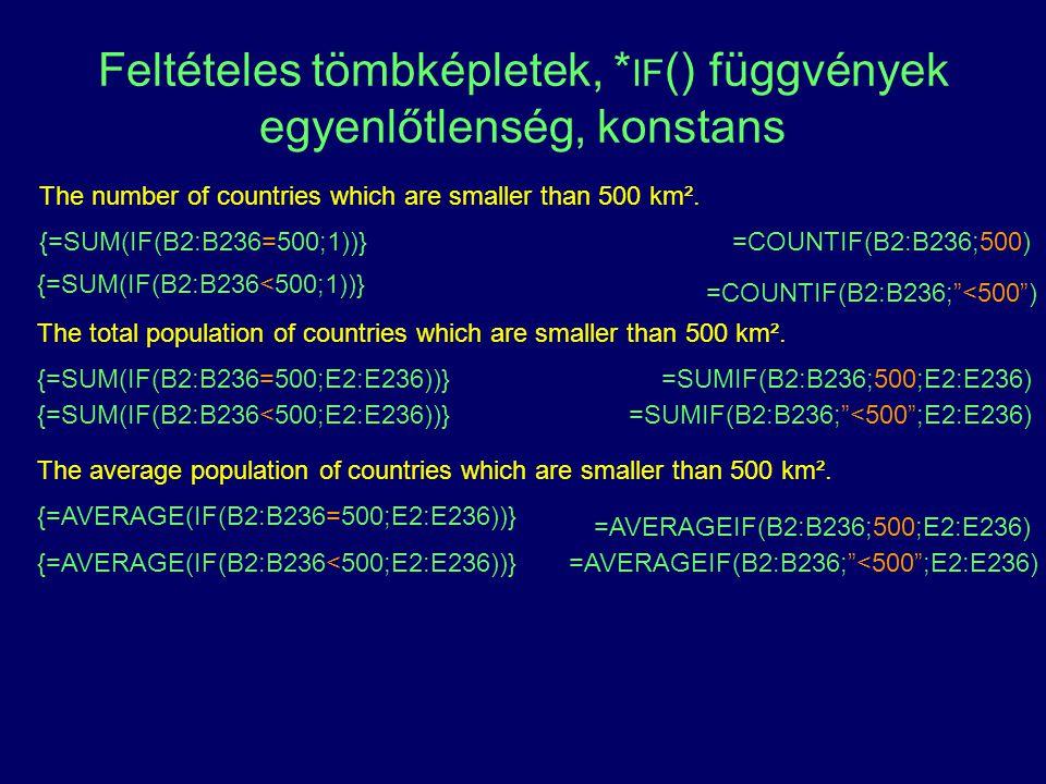 Feltételes tömbképletek, * IF () függvények egyenlőtlenség, konstans The number of countries which are smaller than 500 km². {=SUM(IF(B2:B236=500;1))}