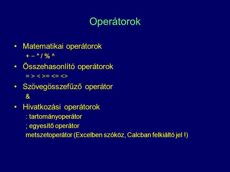 INDEX () index(találati_vektor; index(találati_oszlop_vektor;sor_index) index(találati_sor_vektor;;oszlop_index) index(találati_mátrix; index(találati_mátrix;sor_index;oszlop_index) Visszaadott érték: a találati vektor/mátrix egy cellájának a tartalma.