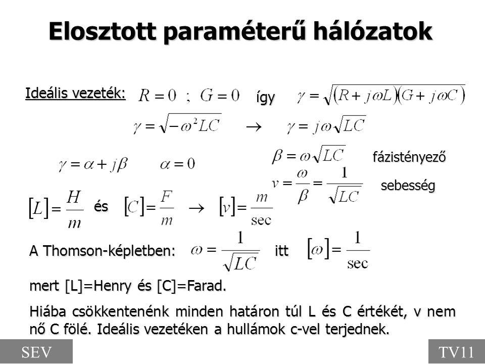így A Thomson-képletben: itt mert [L]=Henry és [C]=Farad. Elosztott paraméterű hálózatok Hiába csökkentenénk minden határon túl L és C értékét, v nem