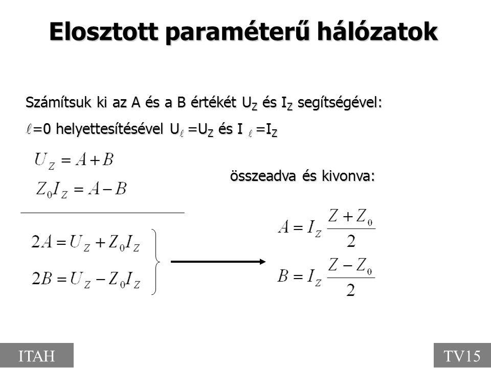 Elosztott paraméterű hálózatok összeadva és kivonva: Számítsuk ki az A és a B értékét U Z és I Z segítségével: =0 helyettesítésével U =U Z és I =I Z =