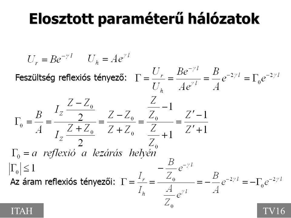 Elosztott paraméterű hálózatok Az áram reflexiós tényezői: Feszültség reflexiós tényező: ITAHTV16