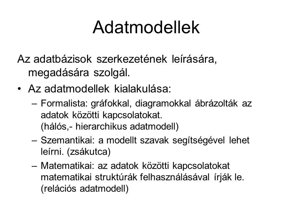 Adatmodellek Az adatbázisok szerkezetének leírására, megadására szolgál. Az adatmodellek kialakulása: –Formalista: gráfokkal, diagramokkal ábrázolták