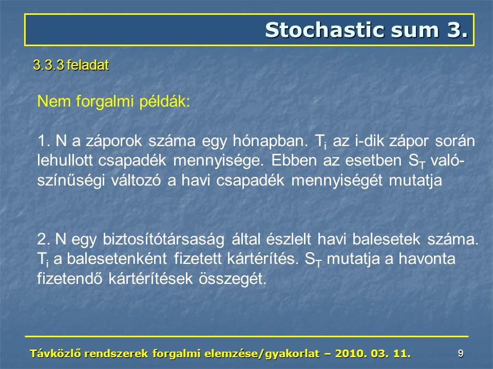 Távközlő rendszerek forgalmi elemzése/gyakorlat – 2010. 03. 11. 9 Stochastic sum 3. 3.3.3 feladat Nem forgalmi példák: 1. 1.N a záporok száma egy hóna